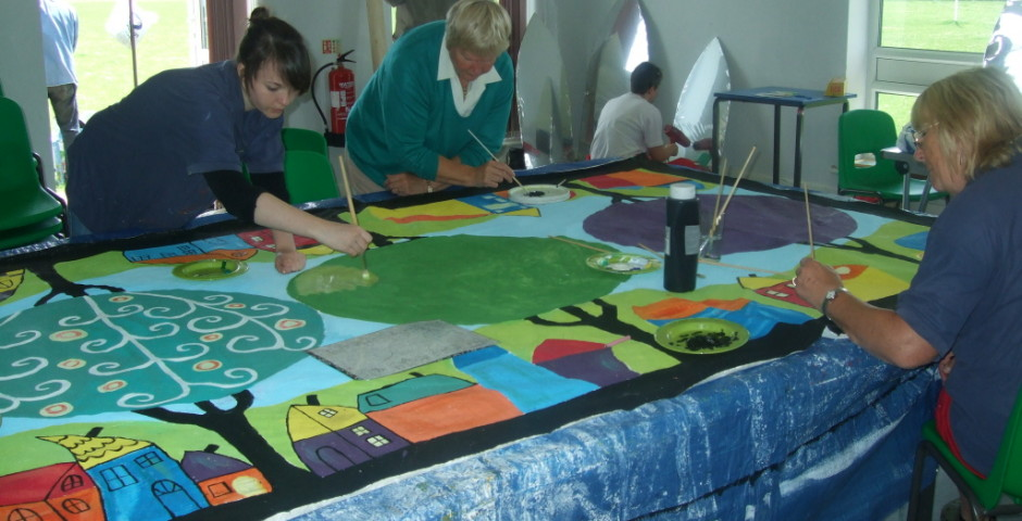 Community drop in workshop, festival floor cloth