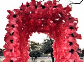 Poppy archway made with children for Remembrance weekend in Waddington