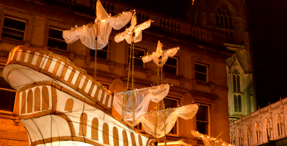 Ghostly Mayflower Ship. Boston Lantern Parade