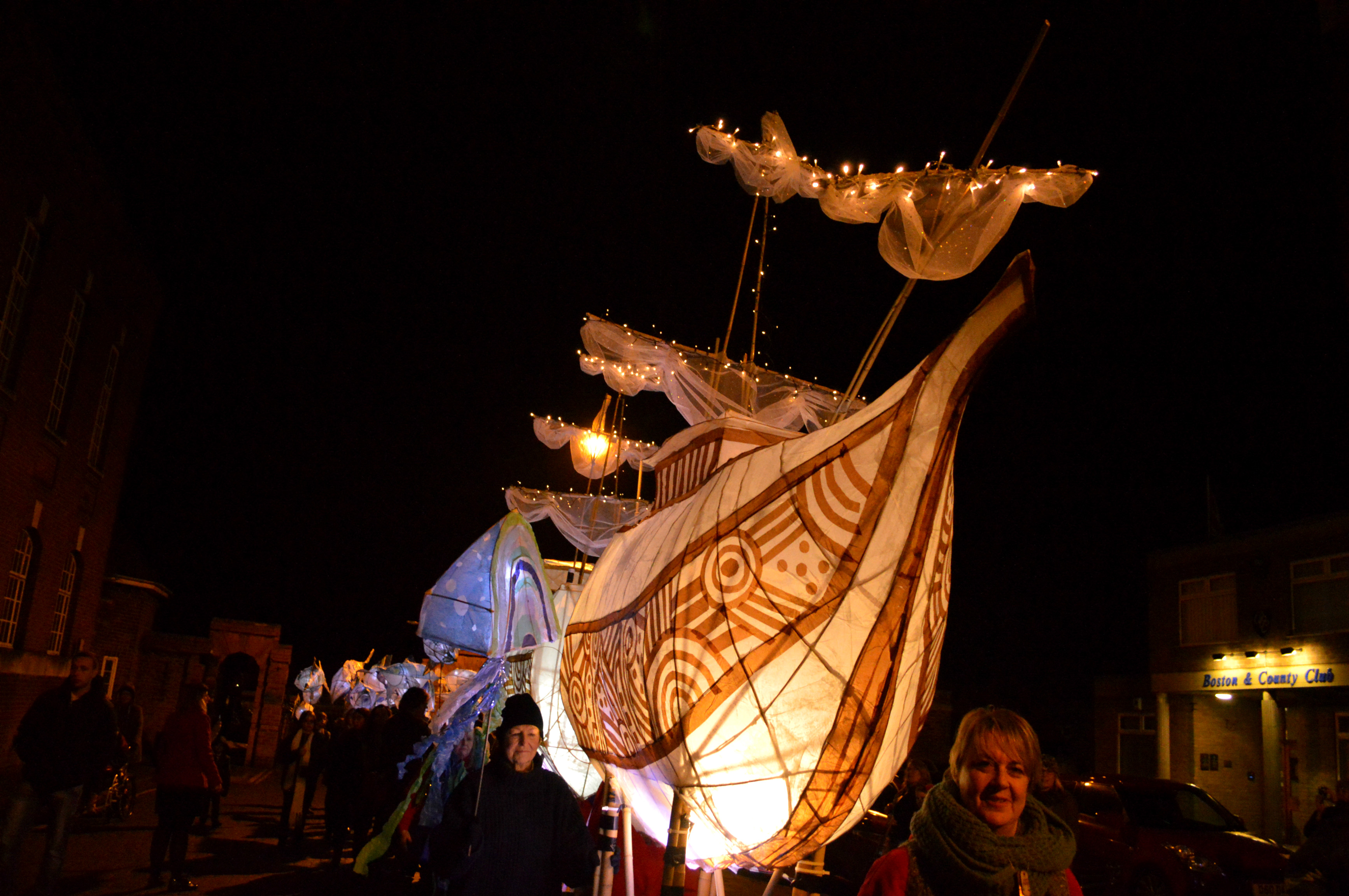 Front of Mayflower ship. Mayflower 400 lantern parade