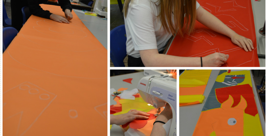 Y8 and Y9 making festival flags