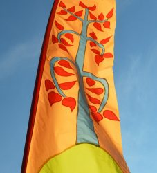 Long festival flags created for Pageant festival with Transported