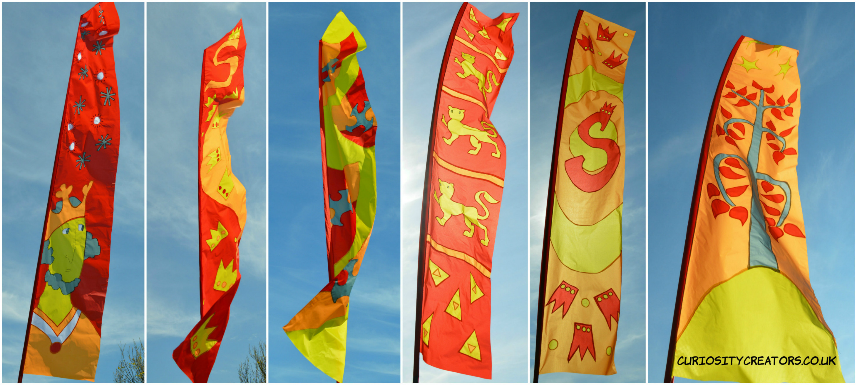set of 6 medieval flags