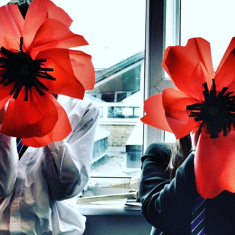 00 poppies made by pupils for the Somme100 commemoration