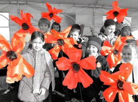 Textile poppies made by all the children from the primary school