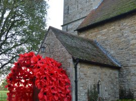 Poppy archway, for remembrance weekend. All flowers made with local school children