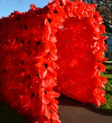 Poppy tunnel created with all the children from Waddington Primary School for Waddington Remembers weekend with Aviation Heritage Lincolnshire