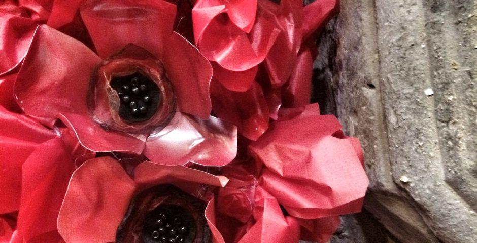 poppies installation in church