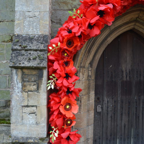 Remembrance poppy arch - schools project