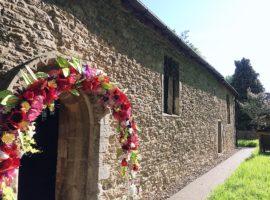 Handmade flower church archway