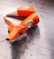 Carved fox puppet - Lockdown Tales, Transported Art
