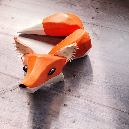 Carved fox puppet