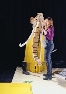 Mock up mammoth puppet - R & D performance